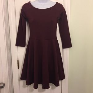 Forever 21 Burgundy Fit and Flare Dress